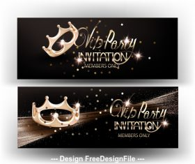 Elegant VIP invitation card with gold shiny crown vector