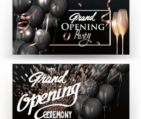 Elegant grand opening banners with black air balloons vector