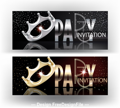 Elegant party banners with gold and silver shiny letters and crowns vector