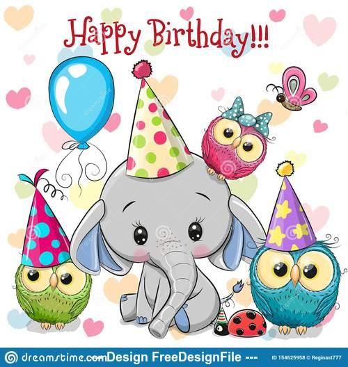 Elephant and owl animal birthday card vector