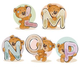 English alphabet with funny teddy bear vector 01