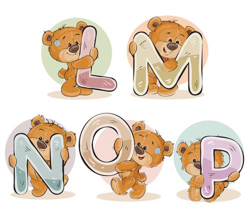 English alphabet with funny teddy bear vector 01