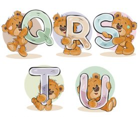 English alphabet with funny teddy bear vector 02