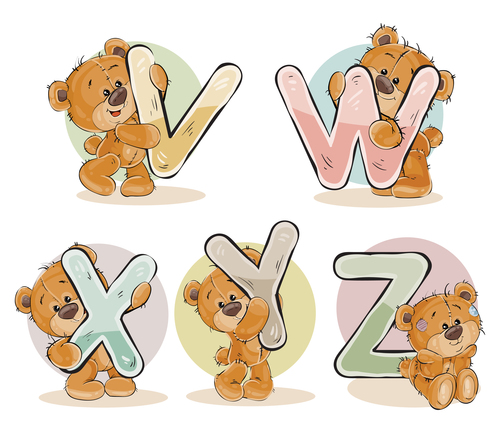 English alphabet with funny teddy bear vector 03