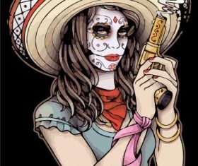 Face painting female gunman vector