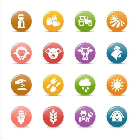 Farm glossy buttons Icon vector