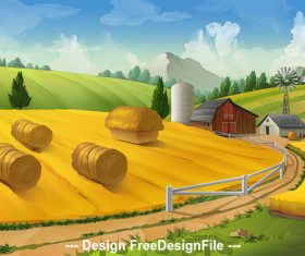 Farm rural landscape vector background