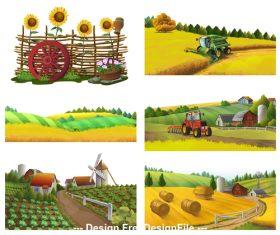 Farm rural landscape vector set