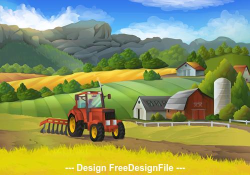 Farm rural landscape vector