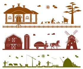 Farm silhouette vector