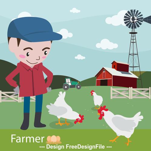 Farmer feeding chicken vector