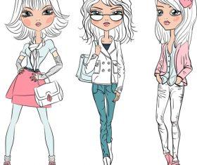 Fashion comic girl vector