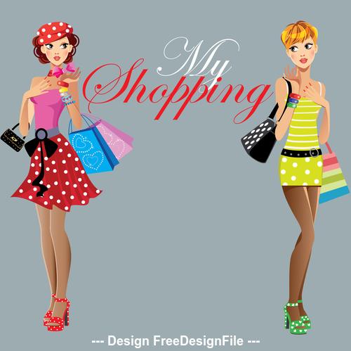 Fashion girls beautiful woman face vector