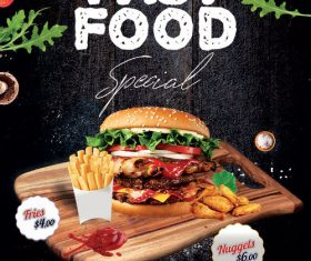 Fast Food Special Flyer Design PSD Template