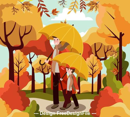 Father and son play in the autumn park vector