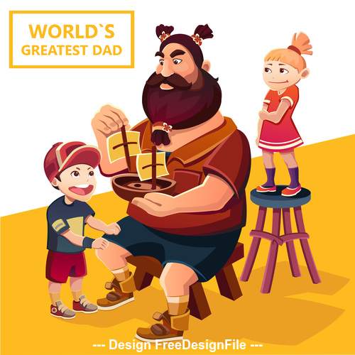 Fathers day cartoon illustration vector