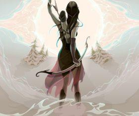 Female archer comic vector