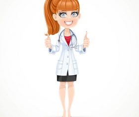 Female doctor cartoon with thumbs up hands vector