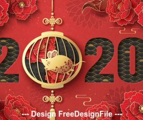 Flaming background flower and golden rat 2020 Chinese style new year vector