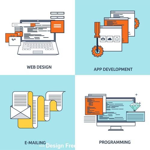 Flat background web design vector