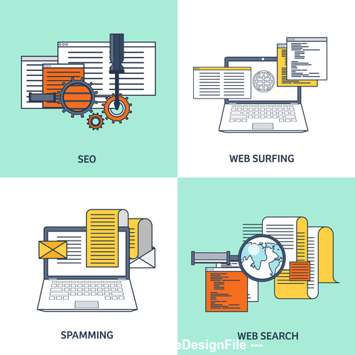 Flat background web surfing vector