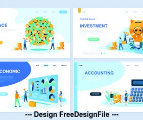 Flat banner concept illustration finance vector