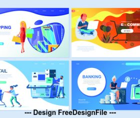Flat banner concept illustration shopping vector