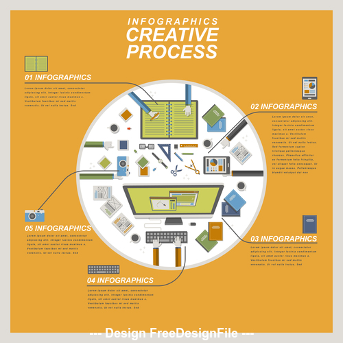Flat creative process illustration vector
