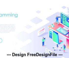 Flat illustration design programming vector