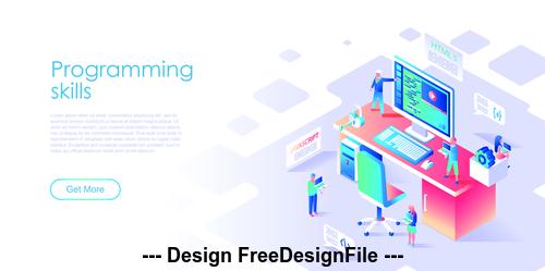 Flat illustration design programming vector