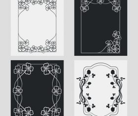Flower decoration vertical frames vector 02