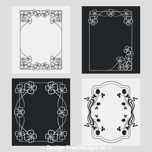 Flower decoration vertical frames vector 02