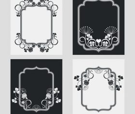Flower decoration vertical frames vector 03