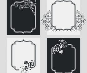 Flower decoration vertical frames vector 04
