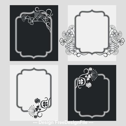 Flower decoration vertical frames vector 04