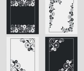 Flower decoration vertical frames vector 05