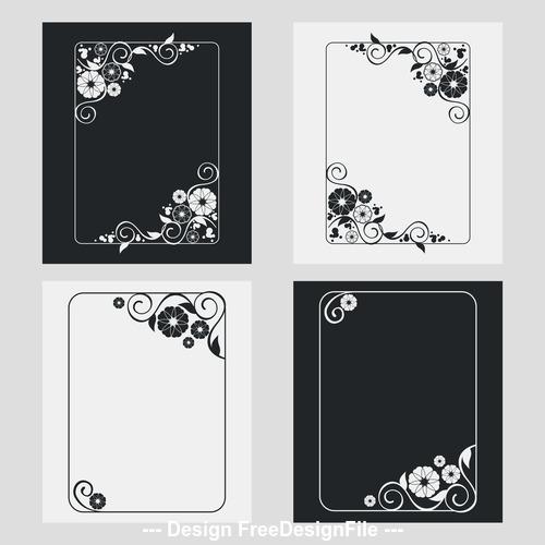 Flower decoration vertical frames vector 06