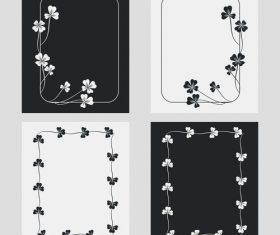 Flower ornament black and white frame vector