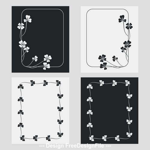 Flower ornament black and white frame vector
