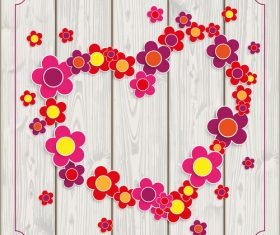 Flowers Heart Vintage Frame Wood vector