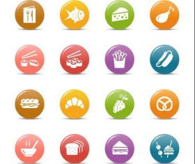Food glossy buttons icon vector