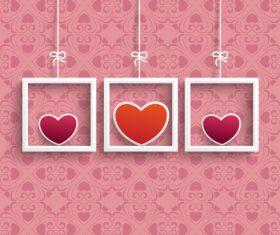 Frames 3 Colored Hearts Ornaments vector