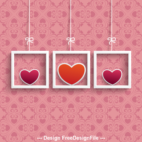 Frames 3 Colored Hearts Ornaments vector