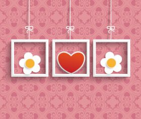 Frames 3 Hearts Flowers Ornaments vector