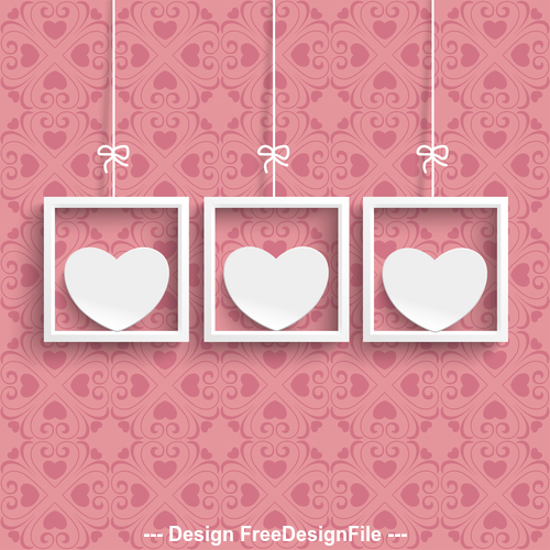 Frames 3 White Hearts Ornaments vector