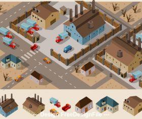 Freight station cartoon vector