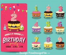 Funny Birthday Cake Candles vector