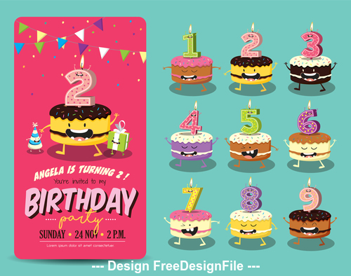 Terrific Funny Birthday Cake Candles Vector Free Download Funny Birthday Cards Online Barepcheapnameinfo