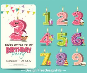 Funny Birthday Candles vector