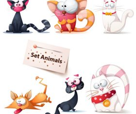Funny cat cartoon vector